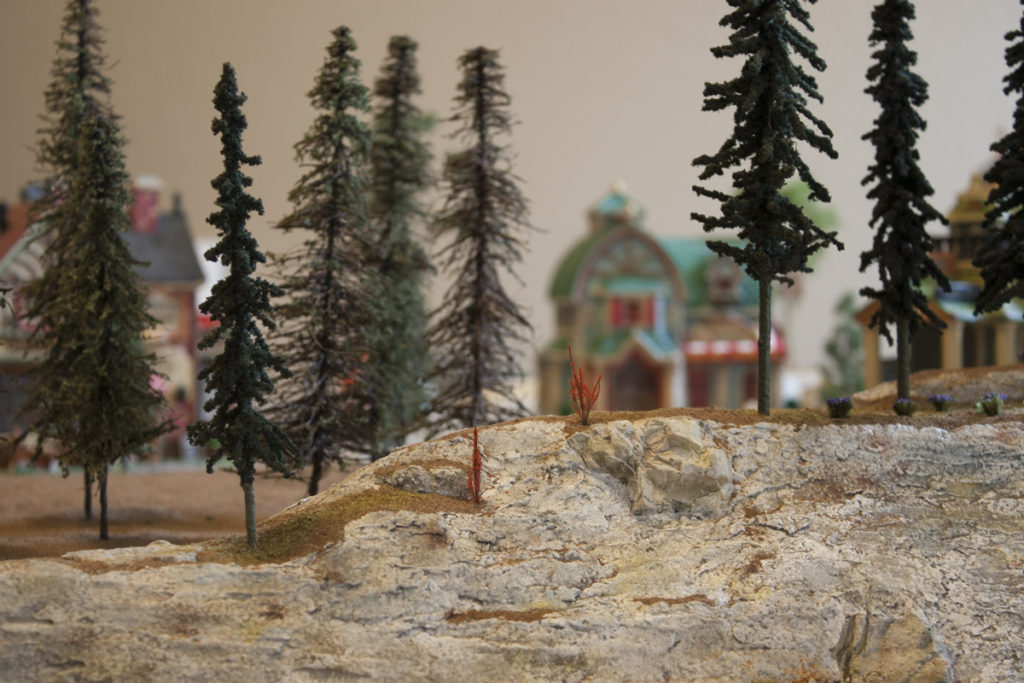 "Detail of the ""mountain"" with a first layer of ground cover"